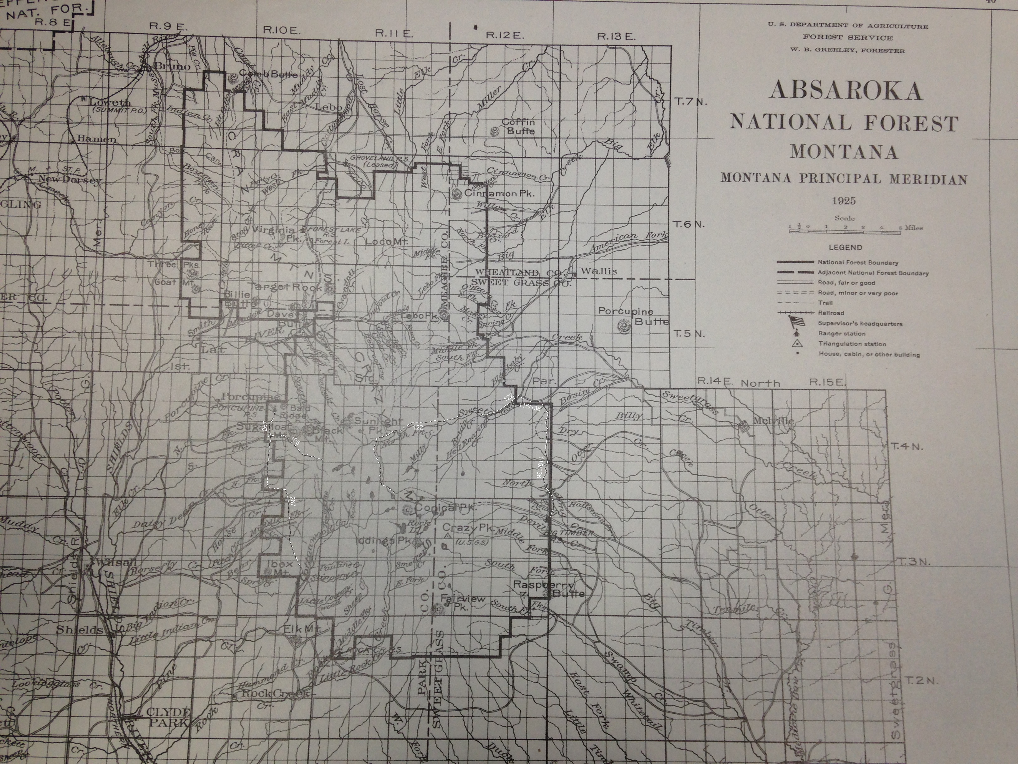 1925 map of crazy mountains trail