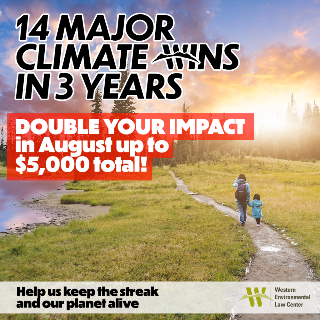 WELC has won 14 major climate cases in 3 years. double your impact in august 2021 up to $5,000 total to help us defend the west from climate change.
