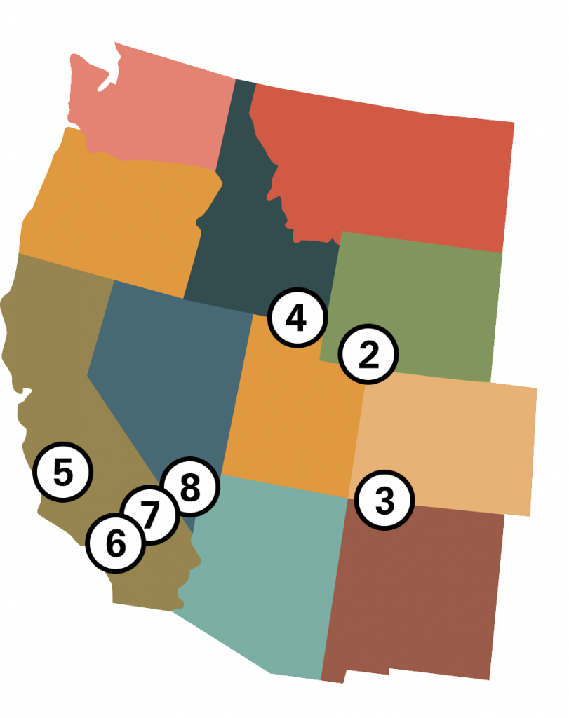 map of places impacted by welc pendley fvra case. three in california, one each in nevada, idaho, wyoming, and colorado